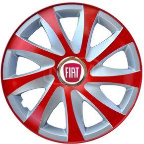 """Puklice pre FIAT 15"""", DRIFT EXTRA červeno-strieborné 4ks"""