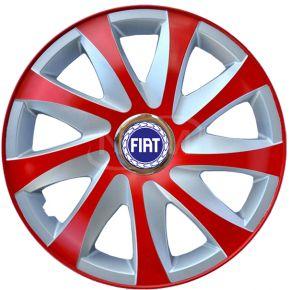 """Puklice pre FIAT 14"""", DRIFT EXTRA červeno-strieborné 4ks"""