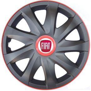 "Puklice pre FIAT 15"", KANDO RACE červené 4ks"