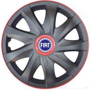 "Puklice pre FIAT 14"", KANDO RACE červené 4ks"