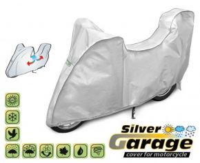 Ochranná Plachta na motorku SILVER GARAGE proti slunci a dešti. D. 215-240 cm + kufr